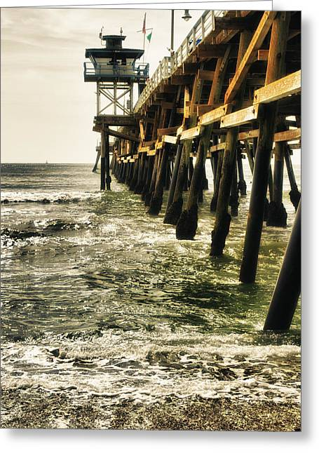 Clemente Greeting Cards - Along the Pier Greeting Card by Barbara Eads