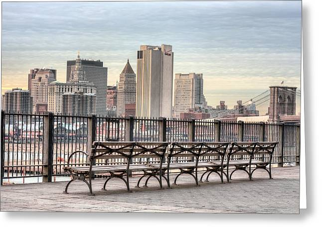 Brooklyn Promenade Greeting Cards - Along the Promenade  Greeting Card by JC Findley
