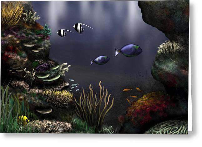Algae Paintings Greeting Cards - Along the Reef Greeting Card by Ron Grafe