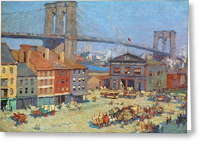Along The River Front New York Greeting Card by Everett Longley Warner