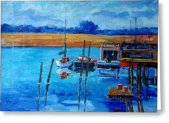 Blue Sailboats Greeting Cards - along the river in  St. Augustine  Greeting Card by Charles Schaefer