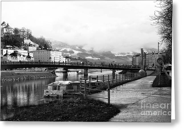 Salzburg Greeting Cards - Along the River Salzach Greeting Card by John Rizzuto