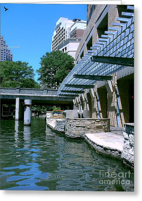 Riverwalk Greeting Cards - Along The Riverwalk Greeting Card by Methune Hively