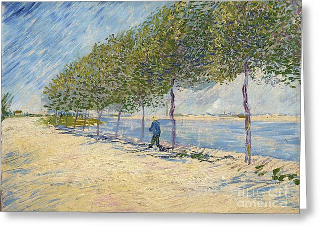 Vintage Painter Greeting Cards - Along the Seine Greeting Card by Van Gogh