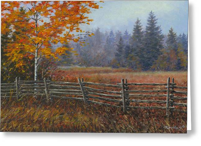 Cedar Fence Greeting Cards - Along the Stoney Batter Road Greeting Card by Richard De Wolfe