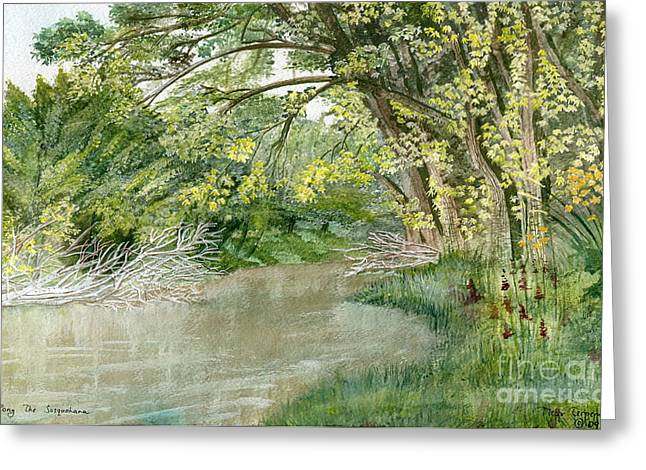 Reflections In River Greeting Cards - Along The Susquehanna Greeting Card by Melly Terpening