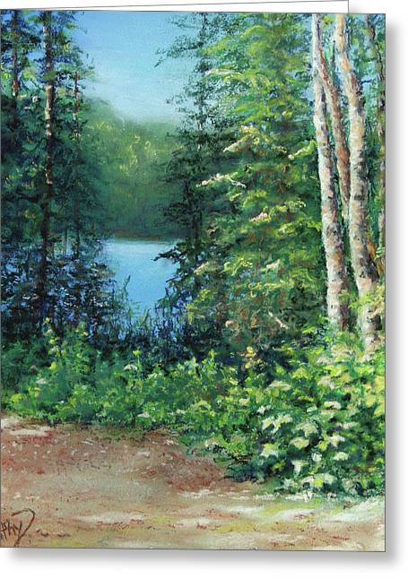 North Shore Pastels Greeting Cards - Along The Trail Greeting Card by Kathy Dolan
