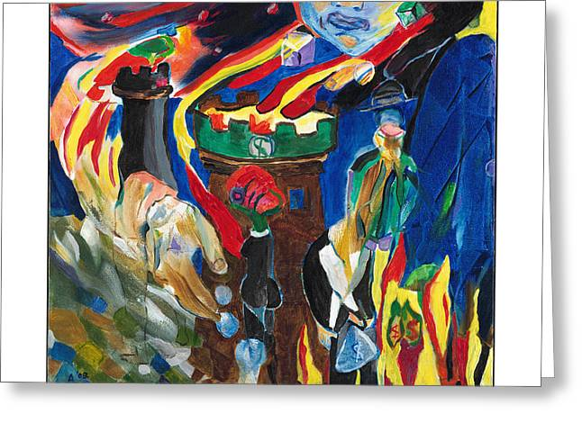 Babylon Paintings Greeting Cards - Along The Watchtower Greeting Card by Red Jordan Arobateau