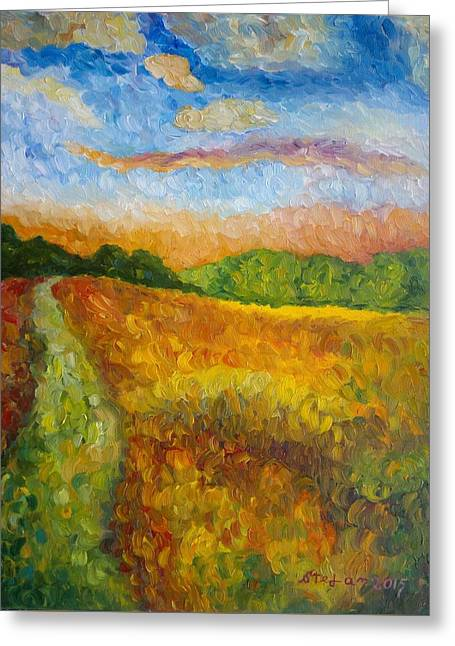 Paradise Road Paintings Greeting Cards - Along The Way Greeting Card by Stefan Silvestru