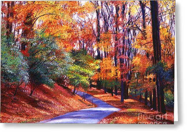 New England Color Greeting Cards - Along the Winding Road Greeting Card by David Lloyd Glover