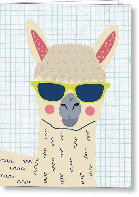 Alpaca Greeting Card by Nicole Wilson