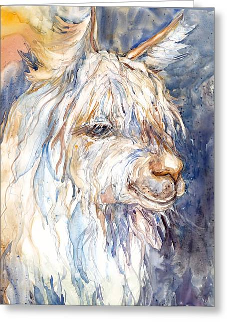 Alpacas Greeting Cards - Alpaca Greeting Card by Peggy Wilson
