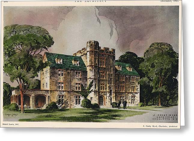Alpha Tau Omega Fraternity. Chapel Hill NC. 1927 Greeting Card by J Cozby Byrd