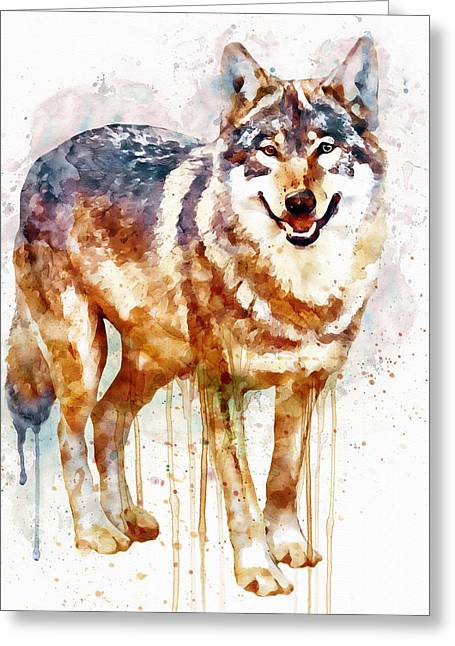 Wolf Digital Greeting Cards - Alpha Wolf Greeting Card by Marian Voicu