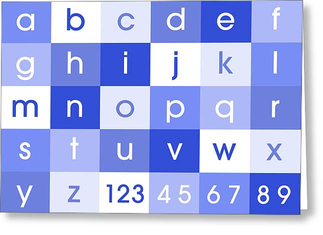 Alphabet Blue Greeting Card by Michael Tompsett