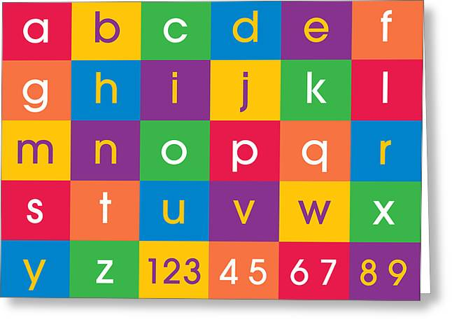 Numbers Greeting Cards - Alphabet Colors Greeting Card by Michael Tompsett