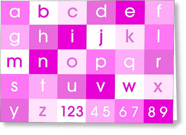 Alphabet Pink Greeting Card by Michael Tompsett
