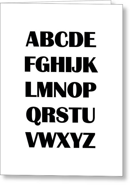 Abc Greeting Cards - Alphabet T-Shirt Greeting Card by Edward Fielding