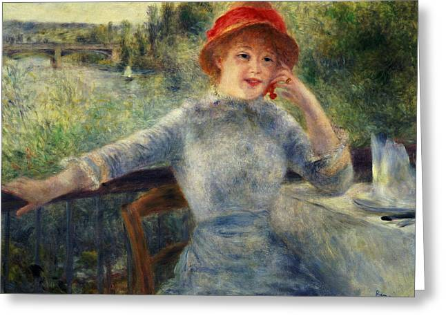 Grenouillere Greeting Cards - Alphonsine Fournaise Greeting Card by Pierre Auguste Renoir
