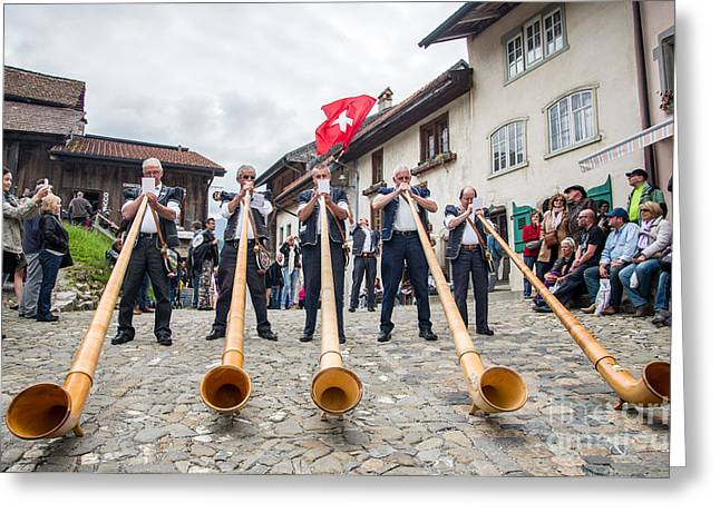 Swiss Photographs Greeting Cards - Alphorn in Gryuere Greeting Card by Ning Mosberger-Tang