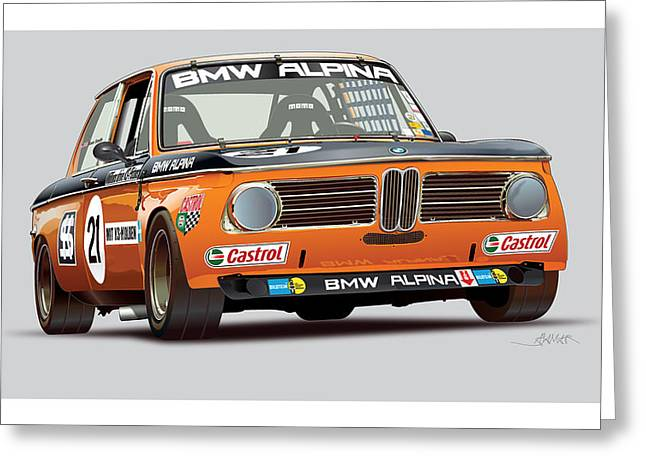 Collection Drawings Greeting Cards - Alpina BMW 2002 Greeting Card by Alain Jamar