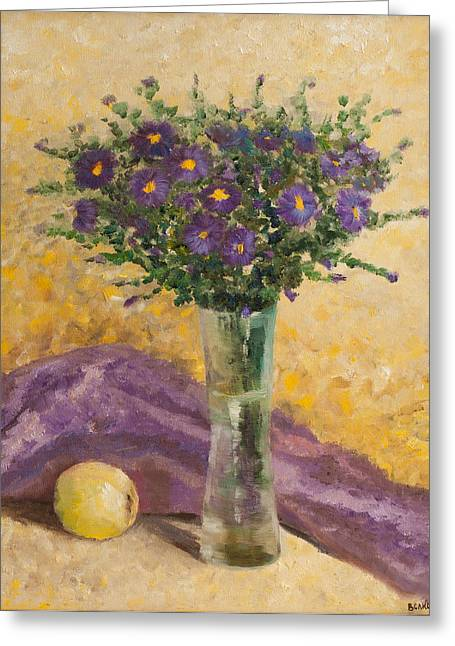 Still Life With Green Apples Greeting Cards - Alpine asters Greeting Card by Olga Volkova