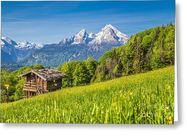 Hill Top Village Greeting Cards - Alpine Beauty 2.0 Greeting Card by JR Photography