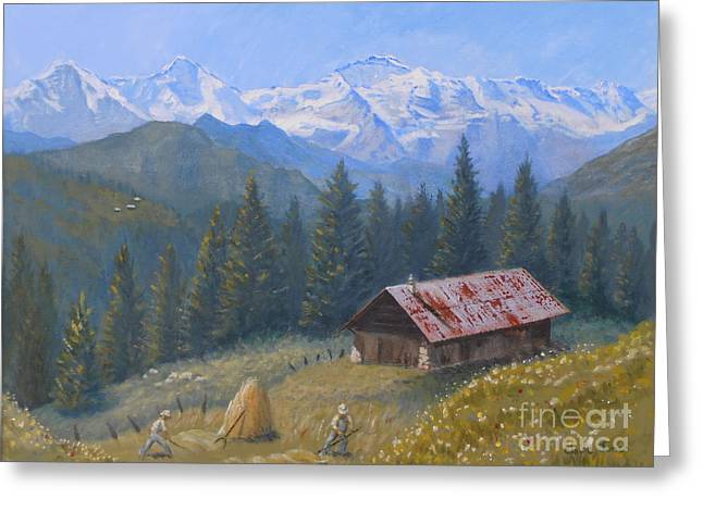 Murren Greeting Cards - Alpine Beauty With Eiger Monch and Jungfrau Greeting Card by Elaine Jones