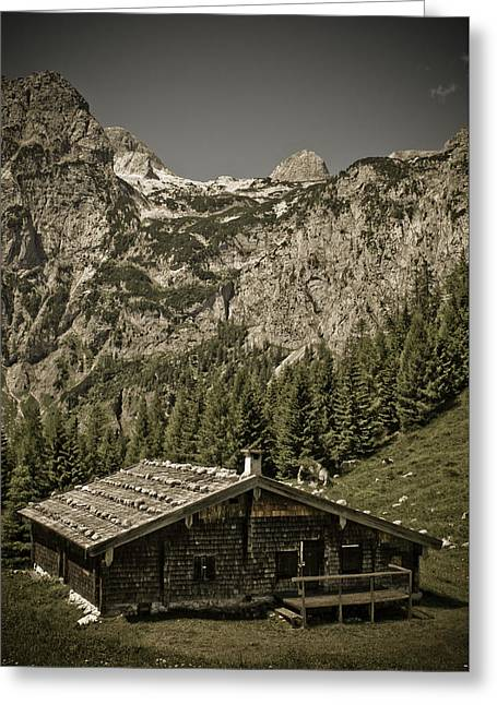 Alpine Cabin Greeting Card by Frank Tschakert