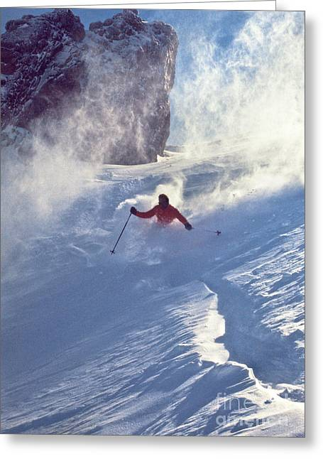 Recently Sold -  - Powder Greeting Cards - Alpine D-9 Chute Greeting Card by Vance Fox