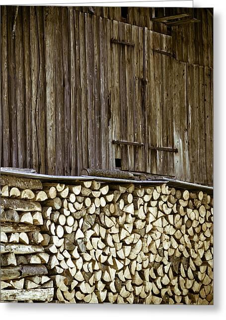 Alpine Firewood Storage Barn Greeting Card by Frank Tschakert