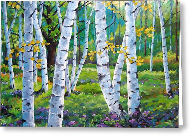 Birch Tree Greeting Cards - Alpine flowers and birches  Greeting Card by Richard T Pranke