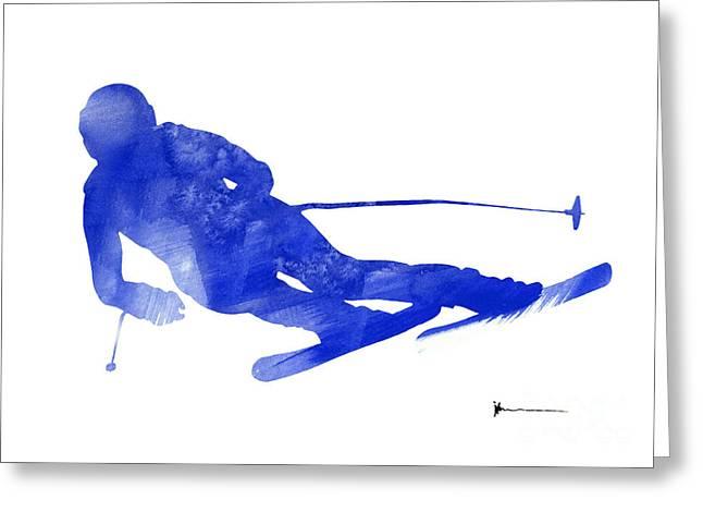 Alpine Skiing Posters Greeting Cards - Alpine skiing watercolor art print painting Greeting Card by Joanna Szmerdt