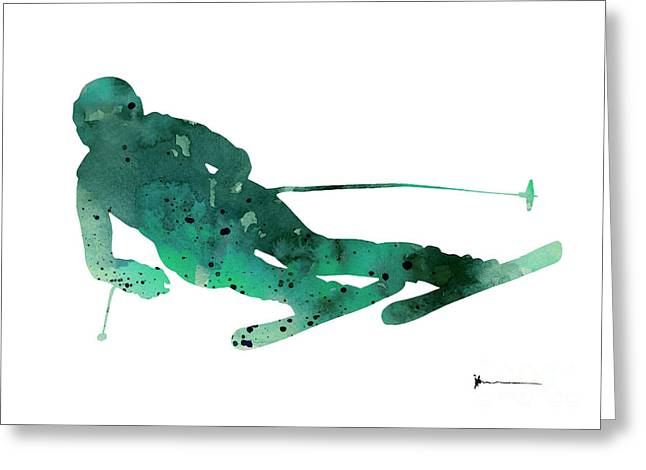 Alpine Skiing Watercolor Painting For Sale Greeting Card by Joanna Szmerdt