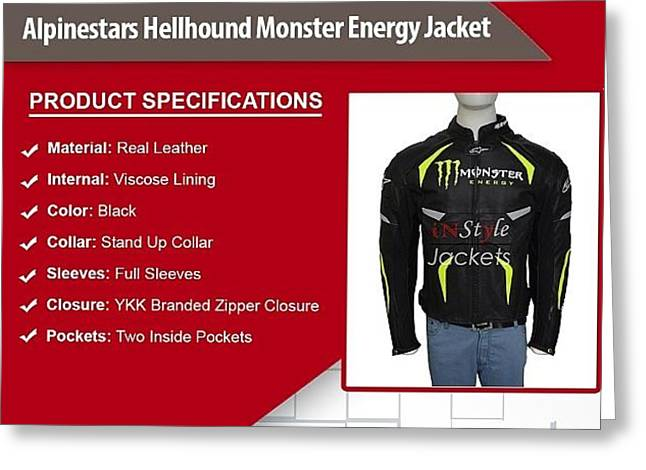 Alpinestars Hellhound Monster Energy Jacket Greeting Card by Susan Fernando