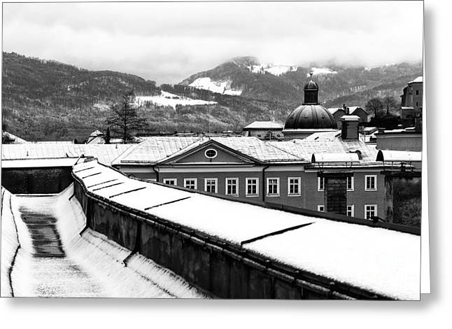 Salzburg Greeting Cards - Alps View from Salzburg mono Greeting Card by John Rizzuto