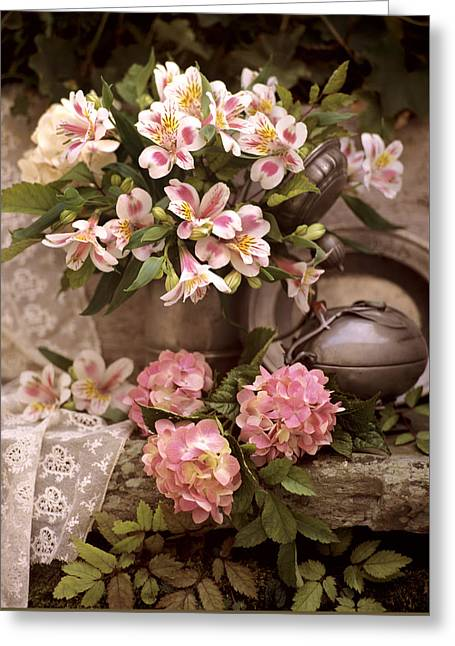Pewter Jug Greeting Cards - Alstroemeria still life with pewter and lace Greeting Card by Erika  Craddock