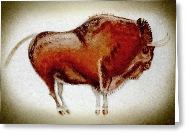 Altamira Prehistoric Bison Lomo Version Greeting Card by Weston Westmoreland