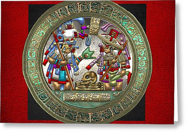 Sacred Digital Greeting Cards - Altar 5 from Tikal - Mayan Nobles Performing a Ritual - on Black and Red Leather  Greeting Card by Serge Averbukh