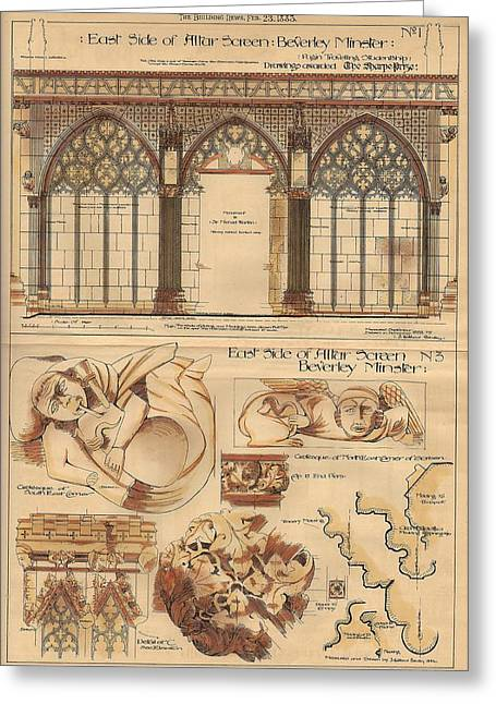 Altar Screen Beverly Minster East Riding Yorkshire England 1883 Greeting Card by Gibbons Sankley