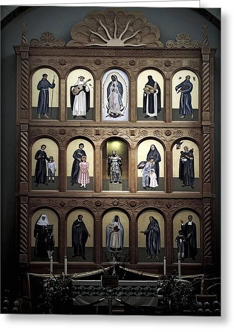 Cathedral Greeting Cards - Altar Screen Cathedral Basilica of St Francis of Assisi Santa Fe NM Greeting Card by Christine Till