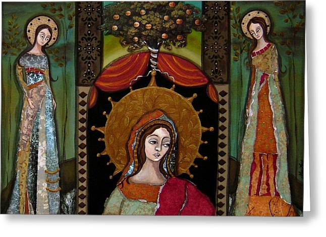Religious Mosaic Mixed Media Greeting Cards - Altar Screen Greeting Card by LoriAnn Altered-posh