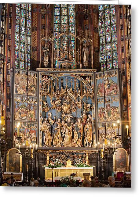 Altarpiece By Wit Stwosz In St. Mary's Basilica Greeting Card by Artur Bogacki