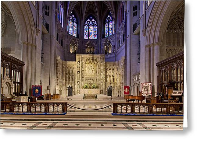 Stainglass Greeting Cards - Alter at The Washington National Cathedral Greeting Card by Brendan Reals