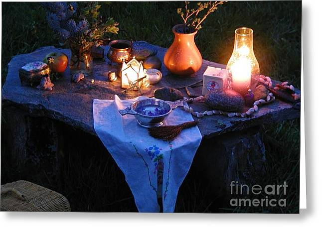 Alter Table Greeting Cards - Alter Style Table Greeting Card by R Muirhead Art