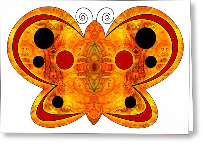 Circle Glass Greeting Cards - Alternate Realities And Abstract Butterflies by Omashte Greeting Card by Omaste Witkowski