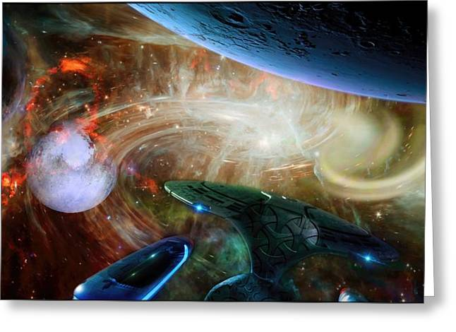 Fantasy World Greeting Cards - Althahyan - Worlds In Collision Greeting Card by Daniel  Arrhakis