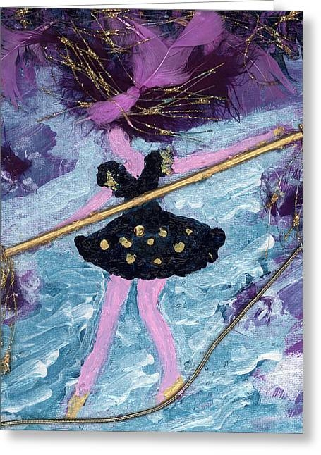 Althea Paintings Greeting Cards - Althea Balances her Life After Chemo Greeting Card by Annette McElhiney