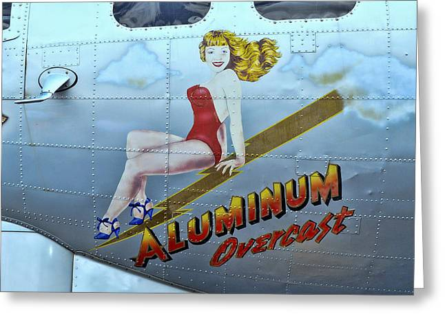 Multi-engine Greeting Cards - B - 17 Aluminum Overcast Pin-Up Greeting Card by Allen Beatty