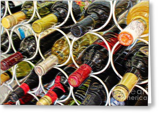 Red Wine Bottle Greeting Cards - Always Full Greeting Card by Clare Bevan